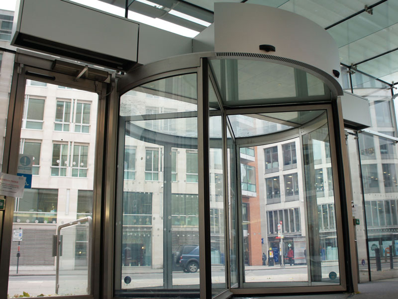 Rotowind air curtain at BT's Head Quarters Newgate Street, London