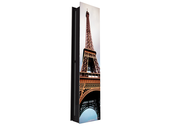 Vertical Zen air curtain with a full panel vinyl image finish