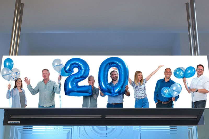 JS Air Curtains staff celebrating 20 years in business